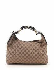 GUCCI GG canvas horse bit shoulder bag canvas leather Beige