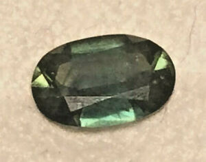 Sapphire Green Natural Genuine Earth Mined Untreated Oval 7 x 4mm  0.8ct