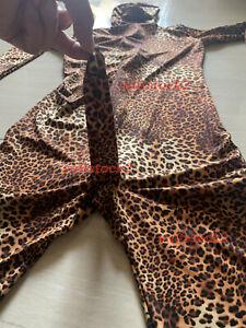 Leopard Stripe Zentai Costume Spandex Skin Suit With Men's Penis sheath