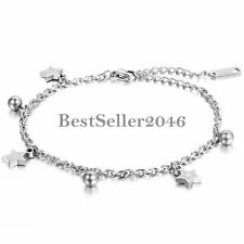 Chain Women Girls Anklet Foot Jewelry Charm Polished Stainless Steel Stars Bead