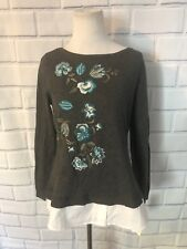 NWT Charter Club Layered Sweater Plus Sz M Teal Embroidered Floral LS New $79