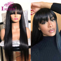 Silky Straight 13*6 Lace Front Human Hair Wigs Full Lace With Bangs Pre Plucked