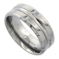 Men's Comfort Fit Titanium Size 10 Wedding Band Ring 8mm Deep Groove Design C19