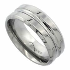 Men's Comfort Fit Titanium Size 9 Wedding Band Ring 8mm Deep Groove Design C19