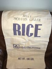 FIVE Vintage RICELAND RICE BAGS - 100 LB. - NO. 1 MEDIUM GRAIN RICE CLOTH SACKS