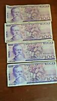 4 mexico 100 pesos banknotes