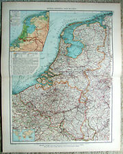Netherlands & Belgium - Original 1899 Map by Velhagen & Klasing. Antique
