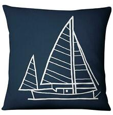 Navigation Navy Blue Nautical Shell Starfish Linen Pillow Marine Cushion Cover