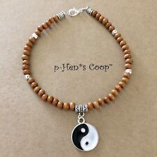 Ying Yang Charm Anklet W Natural Wood Beads Artisan Handmade USA 1527