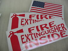 Red FIRE EXTINGUISHER INSIDE DECAL Sticker 4 18 Wheeler Tow Truck + FREE USA