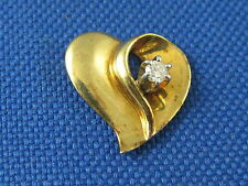 VINTAGE 14K YELLOW GOLD FLOATING HEART PENDANT WITH DIAMOND