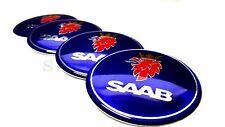 4x60mm Saab Blue Car Wheel Center Caps Plastic Curve Badge Sticker Logo