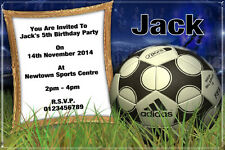 10 Personalised Football Birthday Party Invitations / Thank You Cards