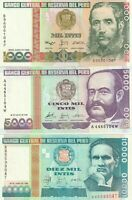 Group Lot of 7 Different UNC Peru Banknotes 10 50 100 500 1000 5000 10000 Intis