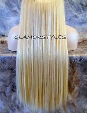 "20"" BLONDE FLIP IN SECRET WIRE HUMAN BLEND HAIR PIECE EXTENSIONS NO CLIP IN/ON"