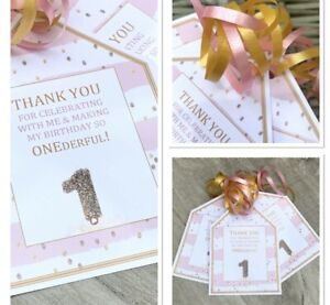 5 x Personalised girls first birthday ONEDERFUL party bag tags party labels pink