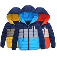 Boys Kids Thick Padded Coat Puffer Hooded Winter Warmer Outwear Parka Jacket LIU