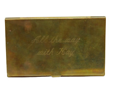 Vintage Brass Business Card Holder Case Engraved All The Way With Kay