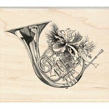 Inkadinkado rubber stamp Christmas Holiday Horn Holly Berry Ribbon French Music