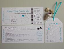 Handmade Boarding Pass/Ticket Wedding Invitation Destination Wedding x 25