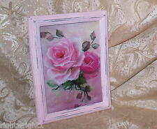Shabby Distressed Frame Chic Pink Cottage Rose Print French Cottage Paris Decor