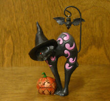 Jim Shore Heartwood Creek #4034439 BLACK CAT w/ BAT, From Retail Store HALLOWEEN