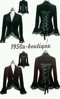 New Velvet Victorian GOTHIC Corset Laced Jacket Coat BLACK Sizes 10/12/14/16 N64