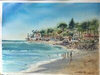 "Watercolor Original Painting 11"" x 15"" ""Beach, Malibu"" NOT A PRINT"