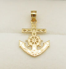 10K Yellow Gold Mariners Anchor Cross Crucifix Pendant