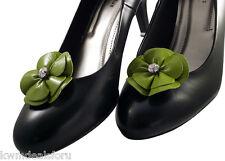 Bridal Wedding Prom Green Rose Leather Shoe Clip Dress Formal Wear Accessory