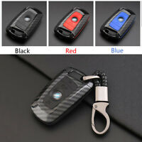 Carbon Fiber Shell+Silicone Cover Remote Key Holder Fob Case For BMW A Style