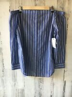 NWT $188 EQUIPMENT FEMME Gretchen Off-Shoulder Buttondown Blouse Shirt Blue L