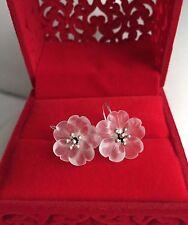 925 Sterling Silver Handmade Natural White Crystal Quartz Lotus Flower Earrings