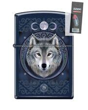 Zippo 5175 Anne Stokes Wolf Royal Blue Matte Finish Lighter + FLINT PACK