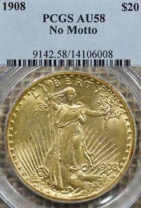 1908 $20 PCGS AU58 No Motto Gold Double Eagle Saint Gaudens