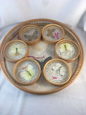 Vintage Butterfly Tray and 6 Coaster Set, Bamboo, Wicker, Complete