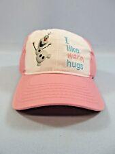 Disney Frozen Olaf Baseball Cap Hat Pink I Like Warm Hugs Girls 7-16 NWT