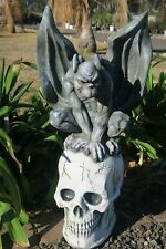 Gargoyle on Pedestal Statue Figurine Garden Decor Ornament Grey