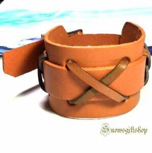 Men's Cool Ancient Roman Gladiator Style Leather Hip Hop Bracelet Wristband.