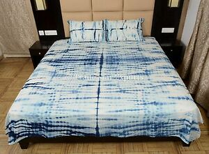 Shibori Bedspread Indian Hand Dyed Indigo Queen Bedding With Two Pillow Cases