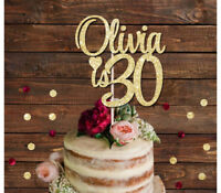 PERSONALISED NAME IS 30 GLITTER CAKE TOPPER 18th 21st 30th, any age cake decorat