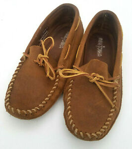 Minnetonka Men's Leather Laced Softsole Slipper 723 Brown Size 6.5