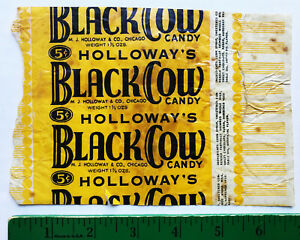 Holloway's BLACK COW  Vintage 1930's/1940's CANDY BAR WRAPPER Chicago 5 cents