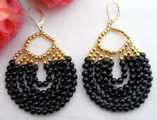 Black Onyx Gold Plated  Leverback Earrings