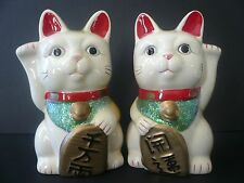 Pair of Lucky Fortune Porcelain Maneki Neko Cats