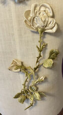 Antique French White Ribbon Roses Satin Stitch Embroidery Embellishment Appliqué