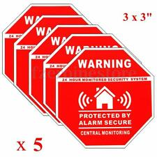 Home Security System Stickers Saftey Alarm Signs Decal 5pcs Monitored by 24 Hour