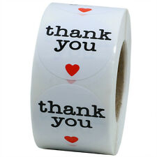 """1.5"""" Round Natural Thank You Stickers with Red Heart Total 500 Adhesive Labels"""