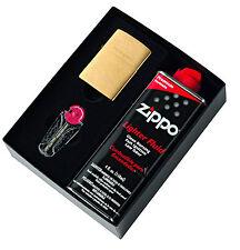 Zippo 204 Brushed Brass Lighter Gold w/ 118ml Fluids & Flints Gift Boxed 90204GP