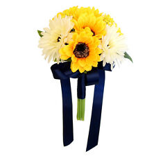 "Artificial Sunflower and Daisy Bouquet (7.5"")-Perfect for bridesmaids, toss, etc"